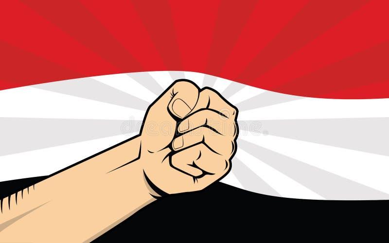 Símbolo de la protesta de la lucha de Yemen con la mano y la bandera fuertes como fondo ilustración del vector