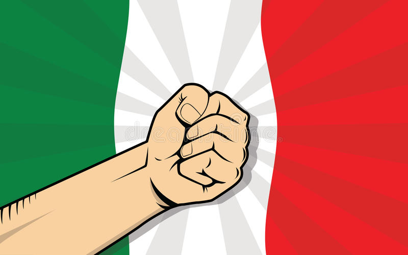 Símbolo de la protesta de la lucha del país de Italia Europa con la mano y la bandera fuertes como fondo ilustración del vector