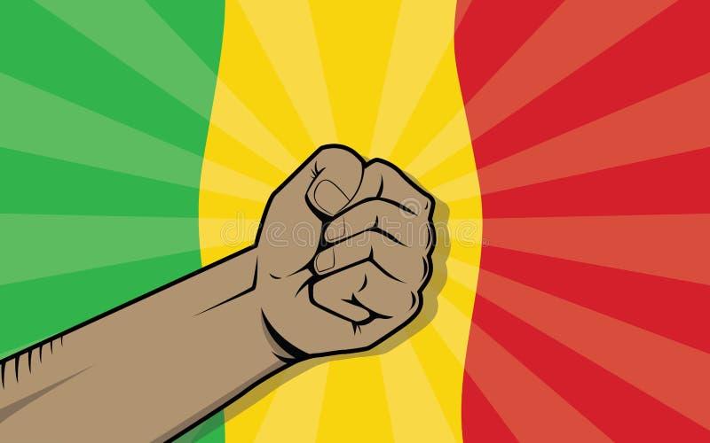 Símbolo de la protesta de la lucha del país de Malí África con la mano y la bandera fuertes como fondo libre illustration