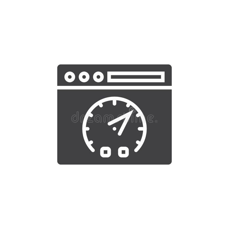 Símbolo de la prueba de velocidad del sitio web Vector del icono de la página web y del tablero de instrumentos, fi stock de ilustración