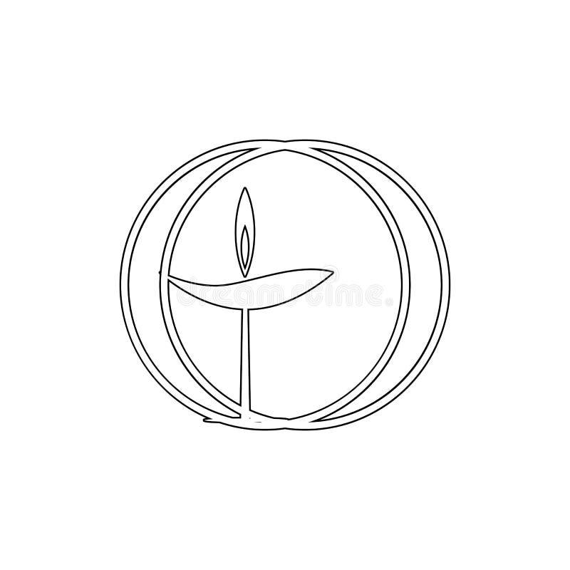 Símbolo de la religión, unitario, icono del esquema del universalismo Elemento del ejemplo del s?mbolo de la religi?n Las muestra ilustración del vector