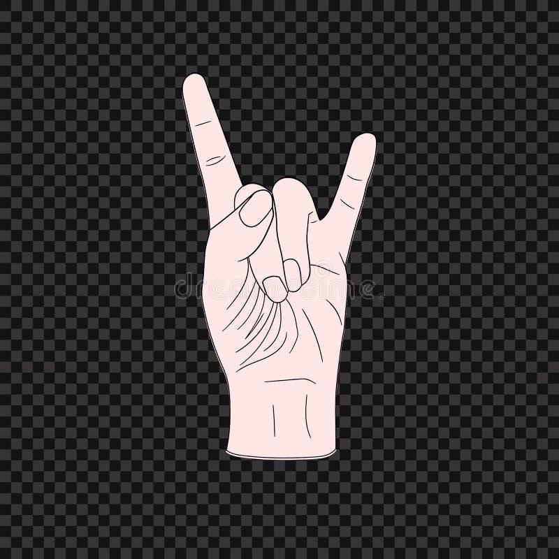 Símbolo de la roca del vector, mano Jesture, ejemplo coloreado en fondo oscuro ilustración del vector