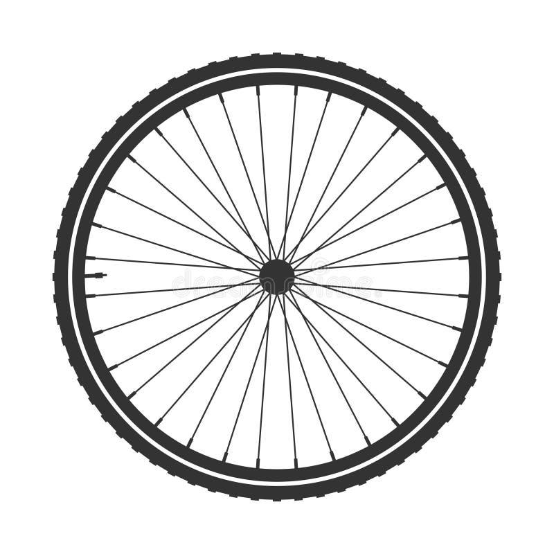Símbolo de la rueda del mtb de la bicicleta, vector Caucho de la bici, neumático de la montaña con la válvula Ciclo de la aptitud ilustración del vector