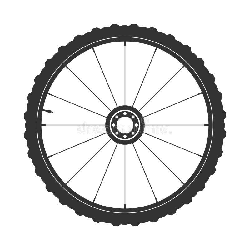 Símbolo de la rueda del mtb de la bicicleta, vector Caucho de la bici, neumático de la montaña con la válvula Ciclo de la aptitud libre illustration
