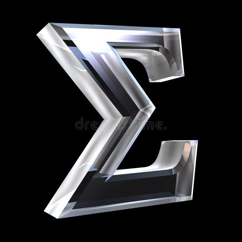 Símbolo de la sigma en el vidrio (3d) stock de ilustración