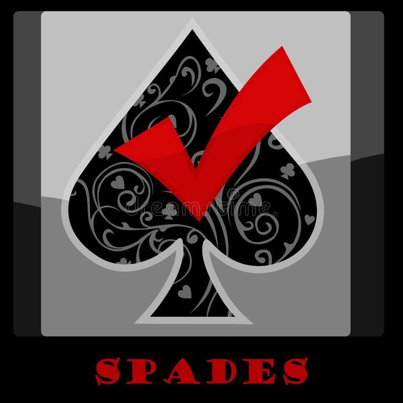 Símbolo de la tarjeta de las espadas ilustración del vector