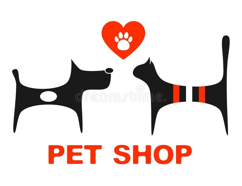 Símbolo de la tienda de animales con los animales domésticos ilustración del vector