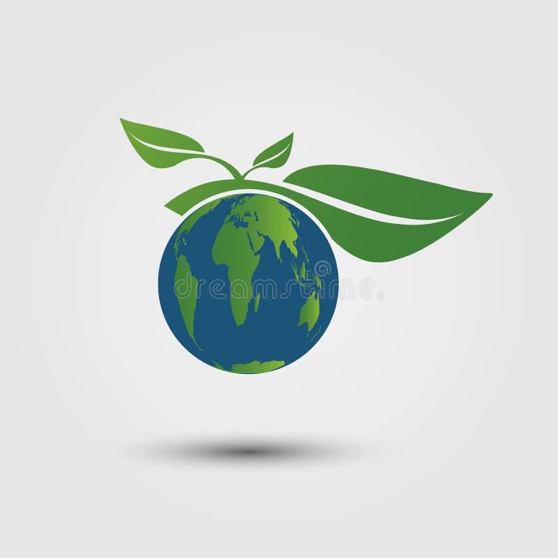 Símbolo de la tierra con las hojas del verde alrededor ecología Las ciudades verdes ayudan al mundo con ideas respetuosas del med libre illustration