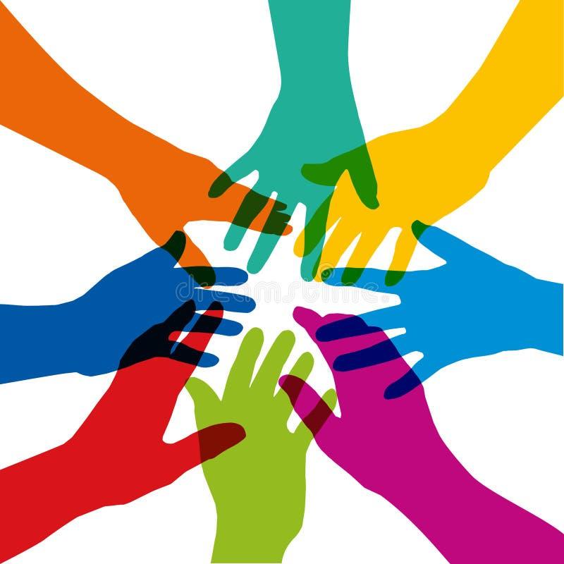 Símbolo de la unión con varias manos coloreadas que se estiran en estrella stock de ilustración