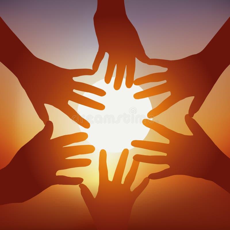 Símbolo de la unión con varias manos extendidas en estrella, delante de un sol poniente stock de ilustración