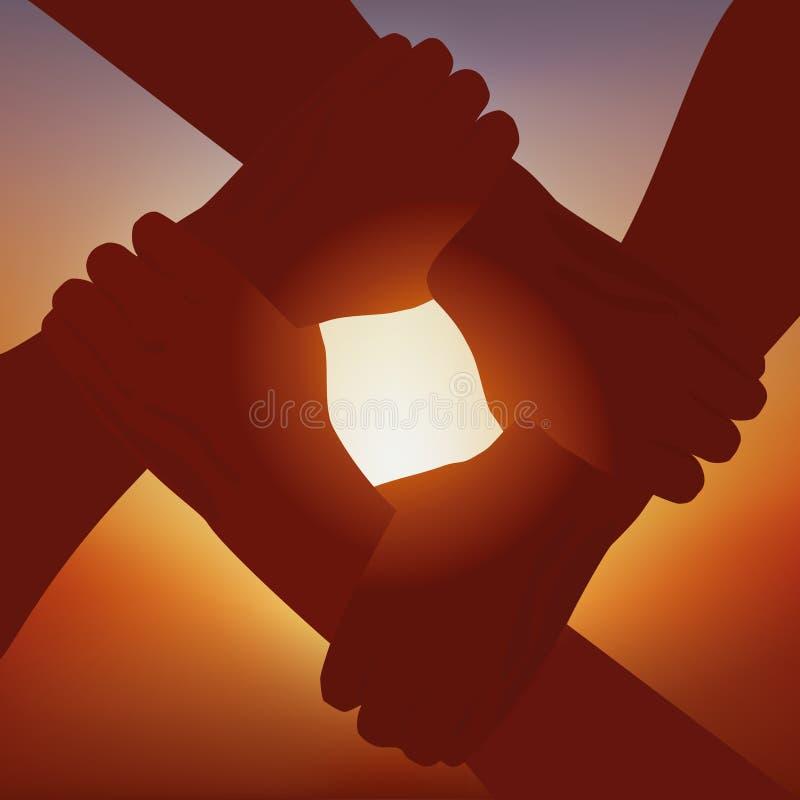 Símbolo de la unión entre cuatro socios con las manos cruzadas en la puesta del sol libre illustration