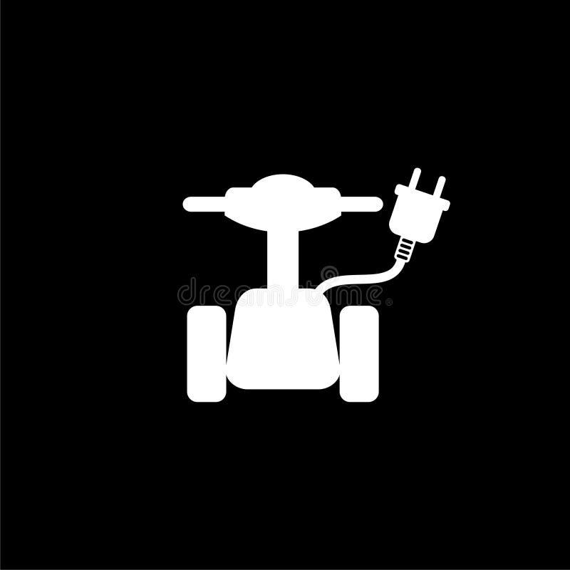 Símbolo de la vespa, icono de la vespa o logotipo eléctrico en fondo oscuro ilustración del vector