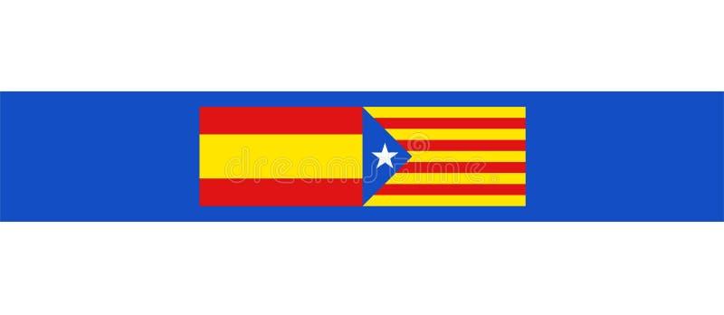 Símbolo de las banderas de España y de Cataluña ilustración del vector