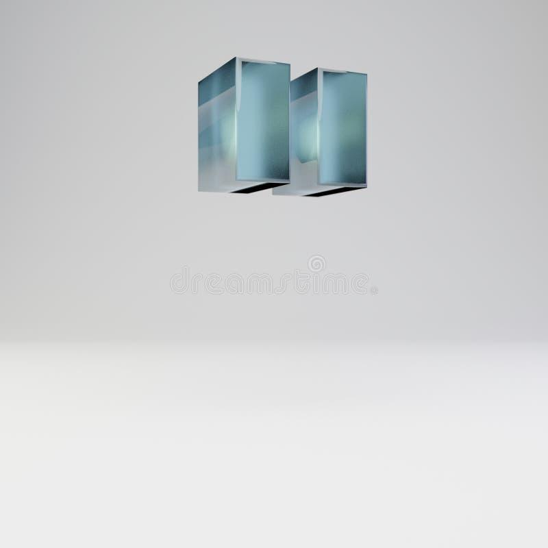 Símbolo de las citas dobles del hielo 3d Fuente transparente del hielo con reflexiones brillantes y sombra aislada en el fondo bl ilustración del vector