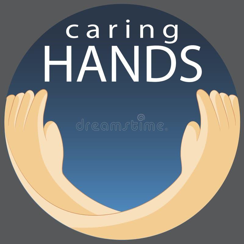 Símbolo de las manos que cuida stock de ilustración