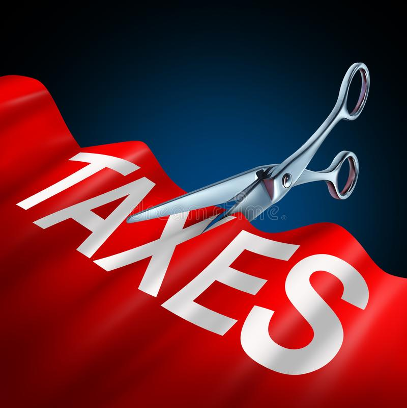 Símbolo de las reducciones de impuestos ilustración del vector