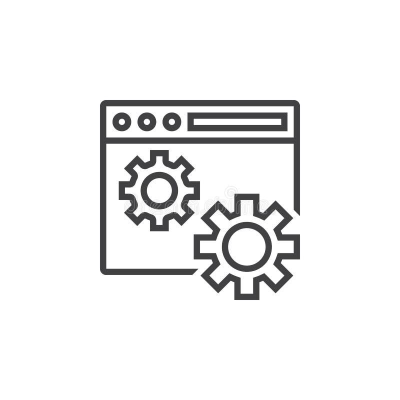 Símbolo de los ajustes del sitio web línea icono, outlin del explorador Web y de los engranajes ilustración del vector