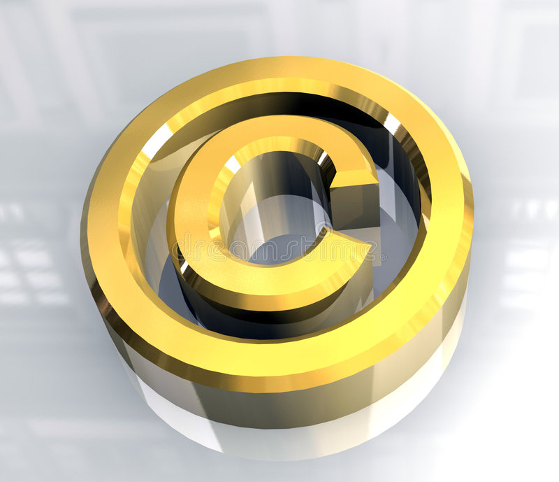 Símbolo de los derechos reservados en el oro (3d) ilustración del vector