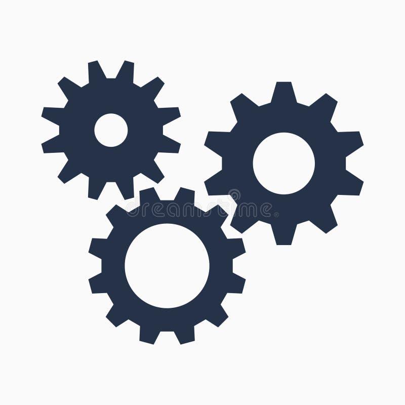 Símbolo de los dientes en el fondo blanco, icono de los ajustes, ejemplo ilustración del vector