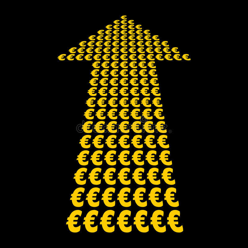 Símbolo de los euros encima de la flecha ilustración del vector