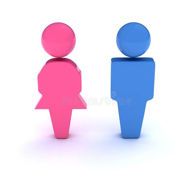 Símbolo de los hombres y de las mujeres foto de archivo