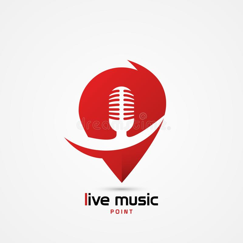 Símbolo de música ao vivo Microfone retro Clube do karaoke ilustração do vetor