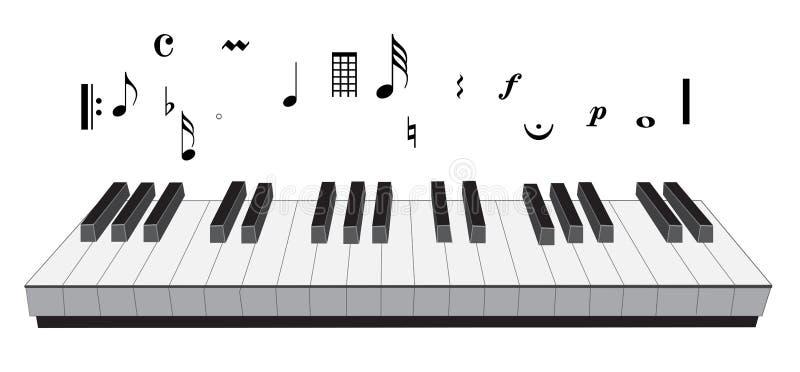Símbolo de música do piano ilustração stock