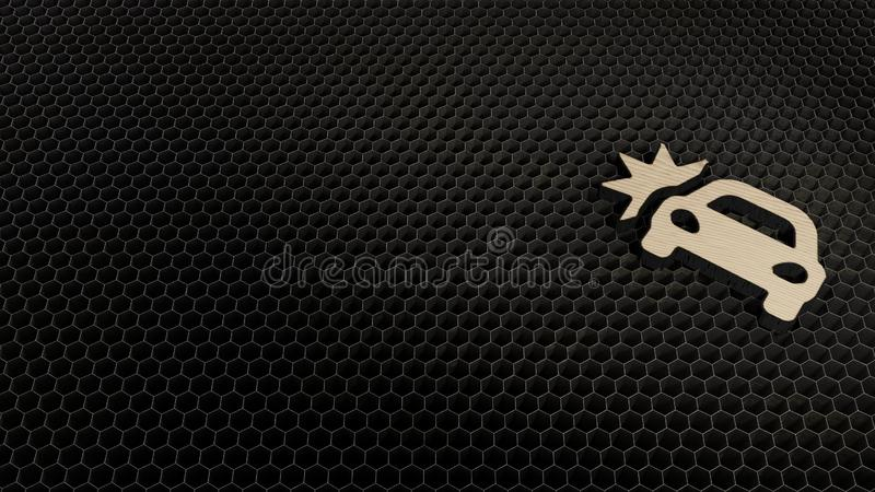 s?mbolo de madera 3d del icono del choque de coche rendir libre illustration