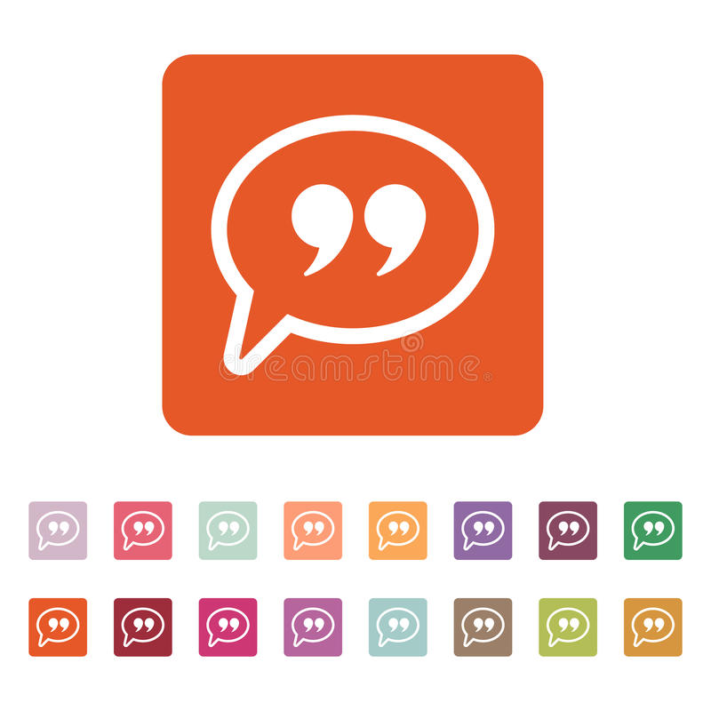 Símbolo de Mark Speech Bubble de la cita stock de ilustración