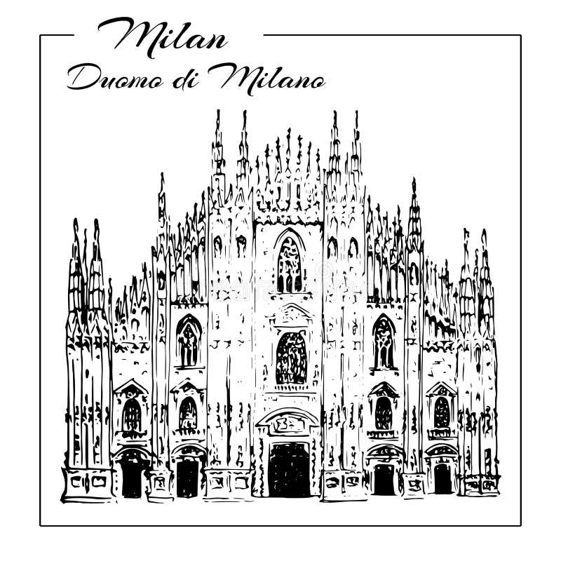 Símbolo de Milán Di Milano del Duomo Bosquejo drenado mano Catedral del Duomo en Milano ilustración del vector
