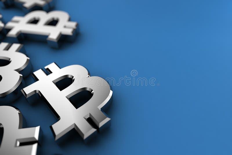Símbolo de moeda cripto de Bitcoin ilustração stock