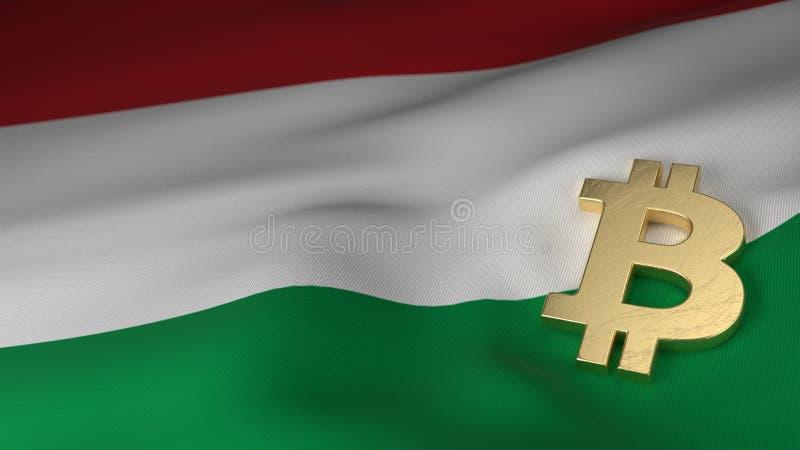 Símbolo de moeda de Bitcoin na bandeira de Hungria ilustração stock