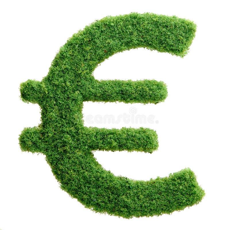 Símbolo de moeda do Euro do eco da grama verde isolado foto de stock