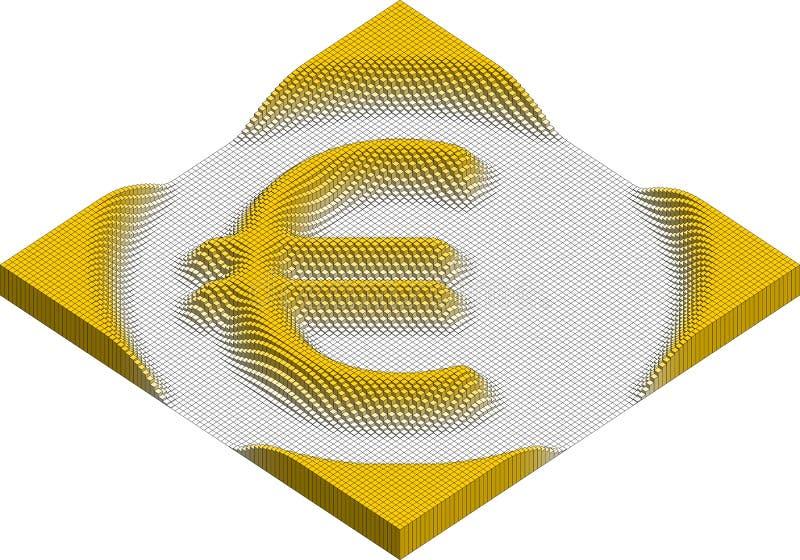 Símbolo de moeda do Euro feito dos cubos ilustração royalty free