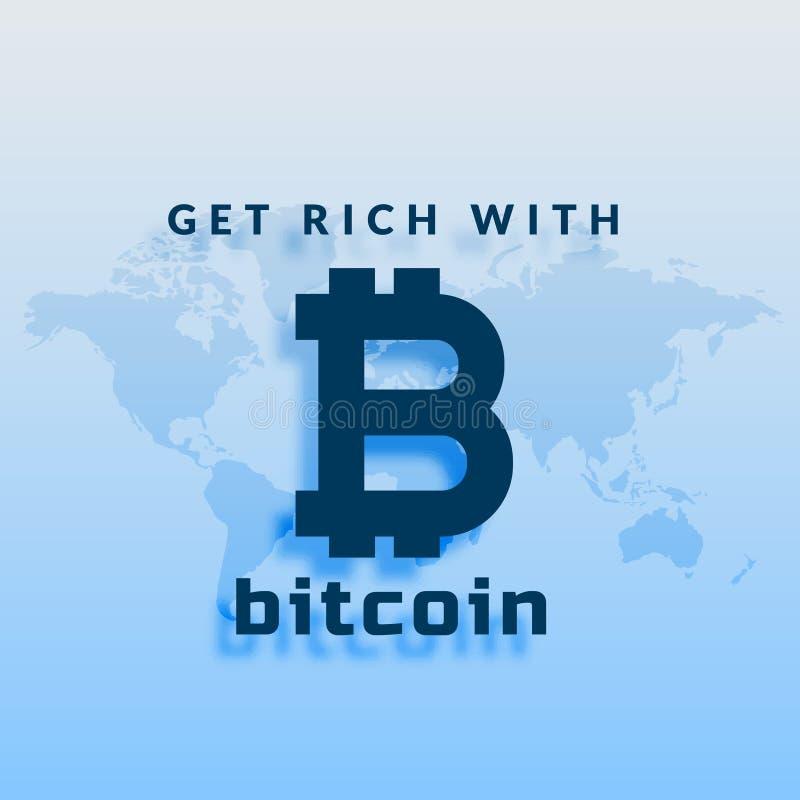 Símbolo de moneda crypto de Bitcoins en fondo azul stock de ilustración