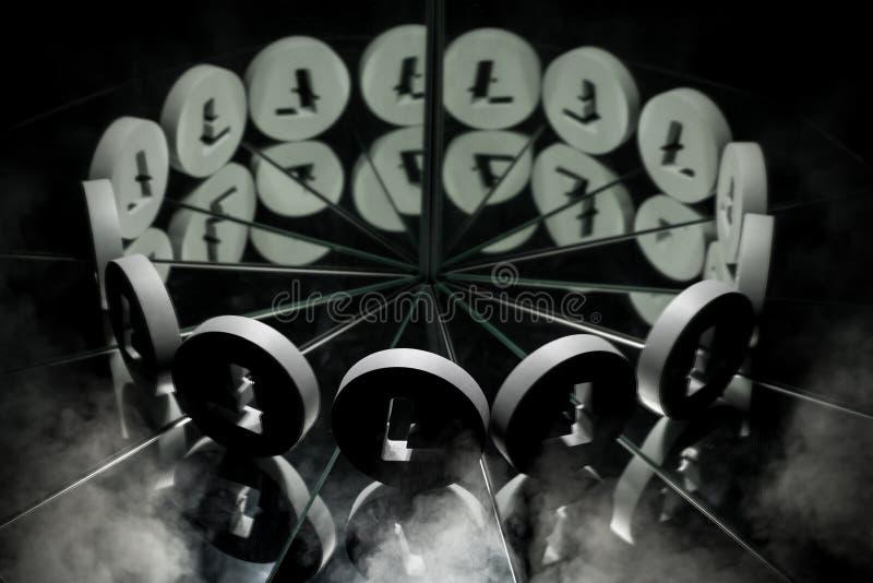Símbolo de moneda Crypto de Litecoin en el espejo y cubierto en humo fotos de archivo libres de regalías