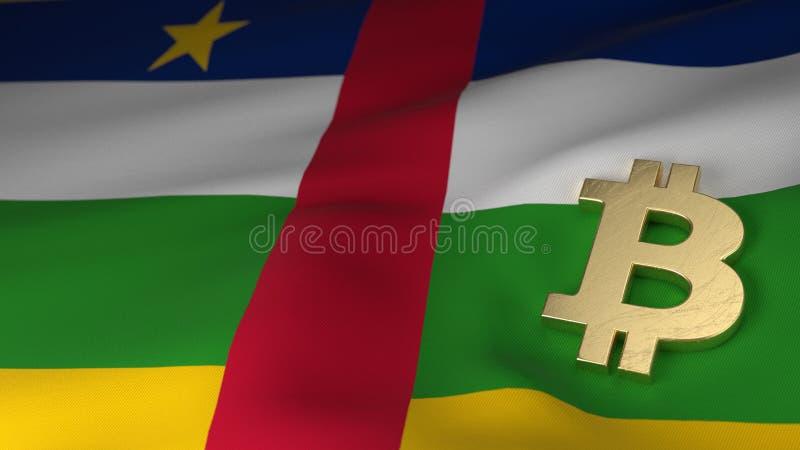 Símbolo de moneda de Bitcoin en la bandera de la República Centroafricana ilustración del vector