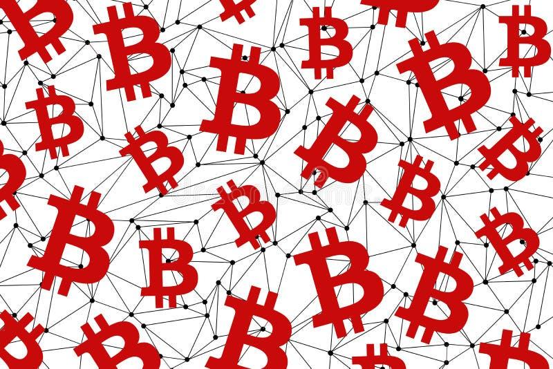 Símbolo de moneda digital de Bitcoin Red roja del bitcoin en un fondo blanco Industria financiera Venta y compra de bitcoins foto de archivo