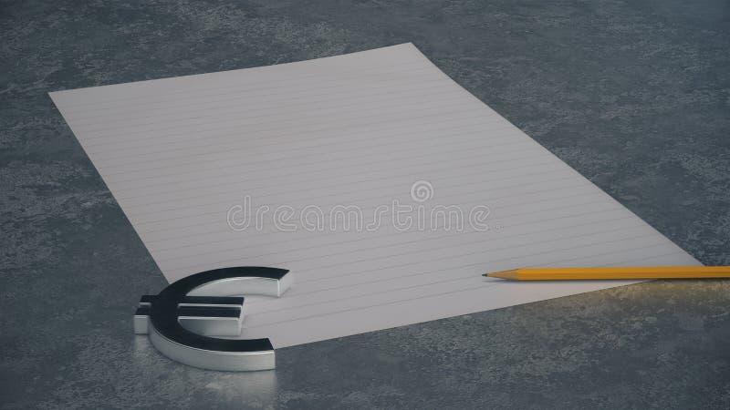 Símbolo de moneda euro del metal con la línea papel y lápiz en fondo concreto stock de ilustración