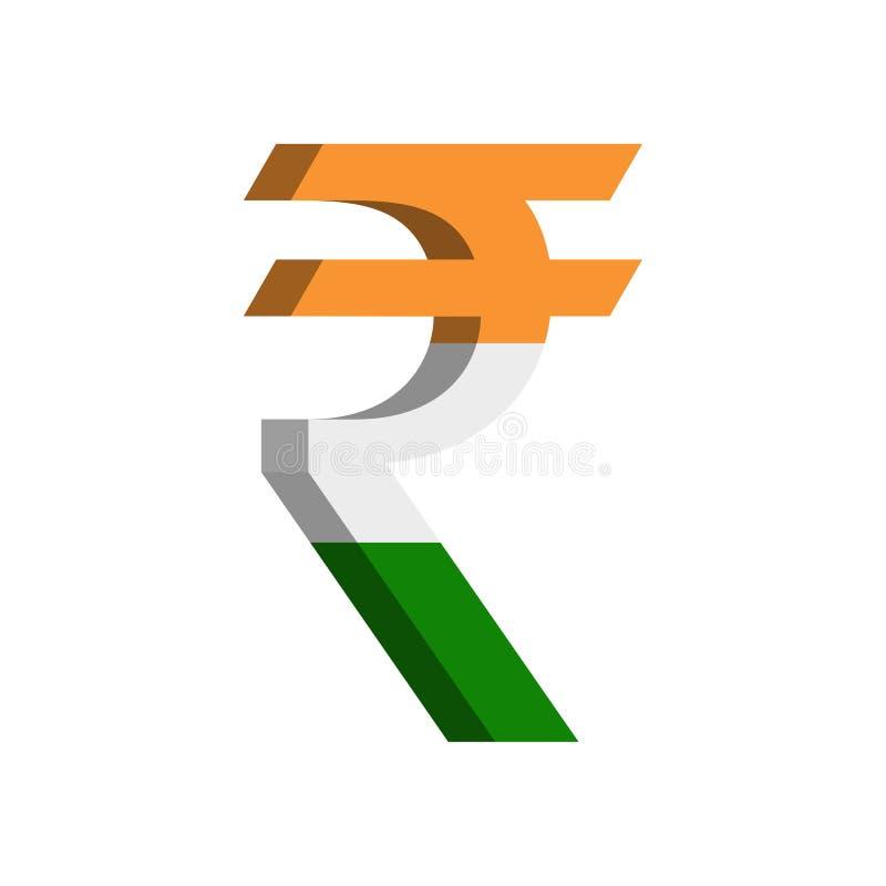 Símbolo de moneda de la INR de la rupia india con la bandera - vector libre illustration