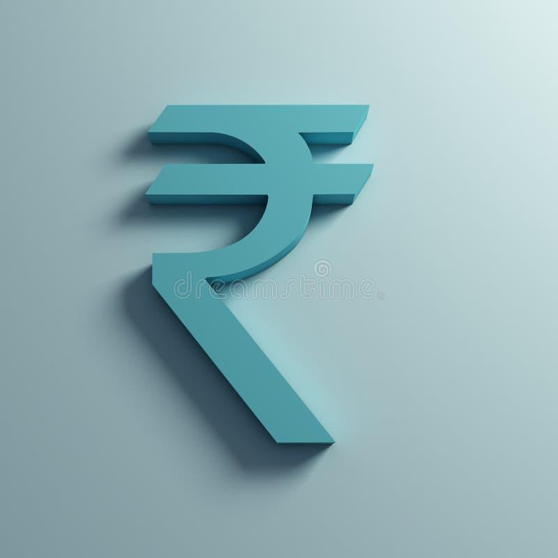 Símbolo de moneda de la rupia en pared ilustración de la representación 3d stock de ilustración