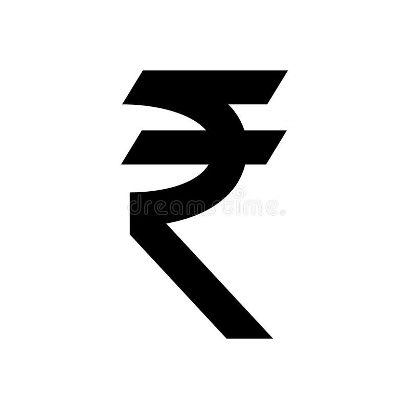 Símbolo de moneda de la rupia india Muestra negra de la rupia de la India stock de ilustración