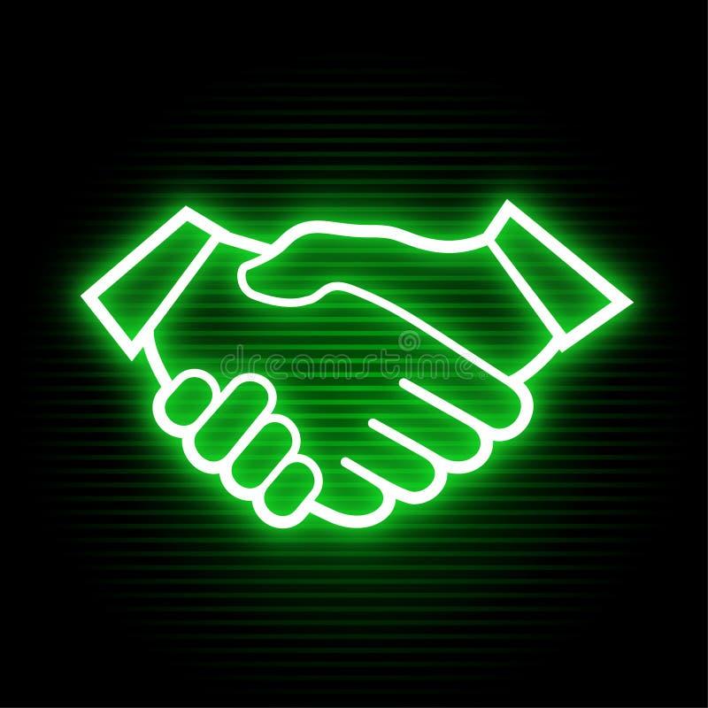 Símbolo de néon das mãos dos amigos ilustração do vetor