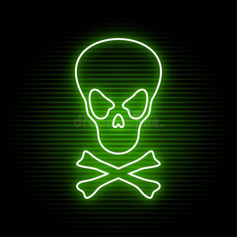 Símbolo de néon do crânio ilustração stock
