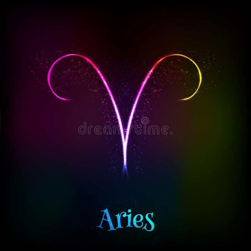 Símbolo de neón brillante del vector del aries del zodiaco ilustración del vector