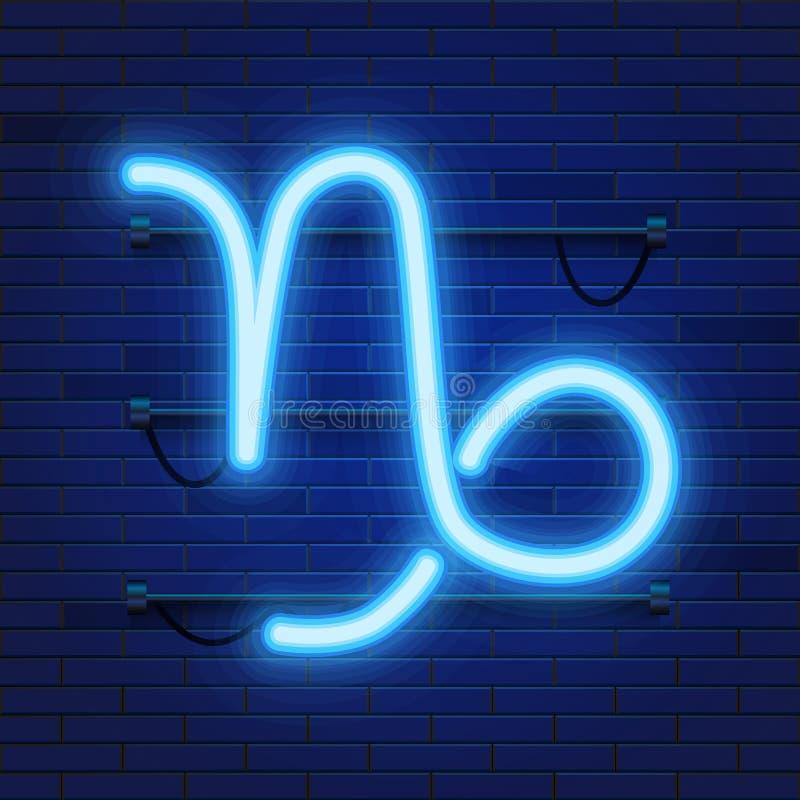 Símbolo de neón cósmico brillante azul del Capricornio del zodiaco en fondo de la pared de ladrillo Concepto de la astrología stock de ilustración