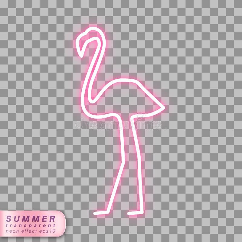 Símbolo de neón del flamenco ilustración del vector