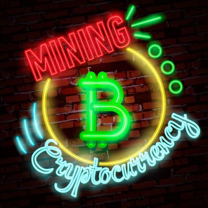 Símbolo de neón de oro del bitcoin aislado en fondo negro Dinero de Digitaces, concepto de la tecnología minera libre illustration