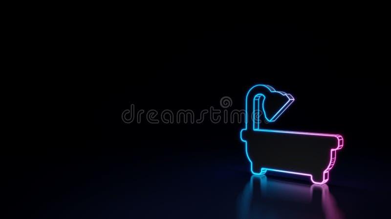 símbolo de neón que brilla intensamente 3d del símbolo del baño en fondo negro ilustración del vector