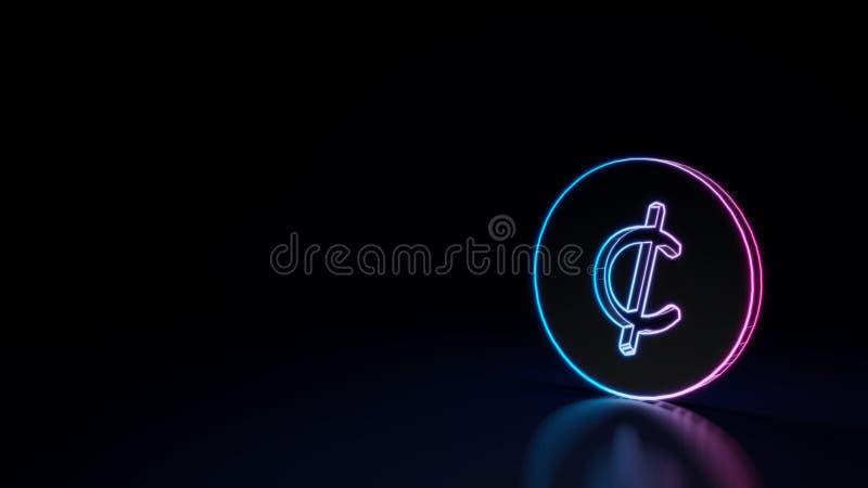 símbolo de neón que brilla intensamente 3d del símbolo del centavo aislado en fondo negro stock de ilustración